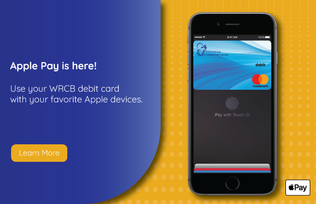 Use Apple Pay with your Wolf River Community Bank debit card.